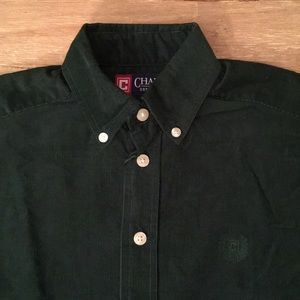 Green Corduroy Button Down Long Sleeve Holiday